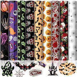 9 Sheets Halloween Heat Transfer Vinyl Bundle