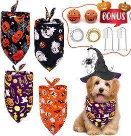 4 PCS Halloween Pet Bandanas