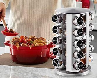 20-Jars Stainless Steel Carousel Spice Rack