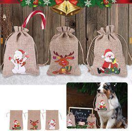1pc Christmas Jute Burlap Bags with Drawstring