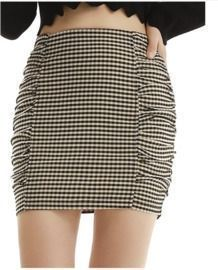 Plaid High Waist Mini Skirt - Light Brown Plaid