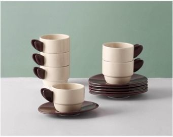 Set of 6 Stackable Espresso Cups with Saucers