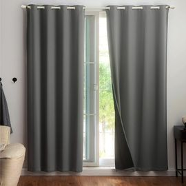 Thermal Insulated Blackout Curtains - Grey & White