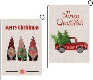 2Pcs Merry Christmas Double-Sided Garden Flags