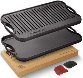 Overmont Pre-seasoned Cast Iron Reversible Griddle Grill Pan