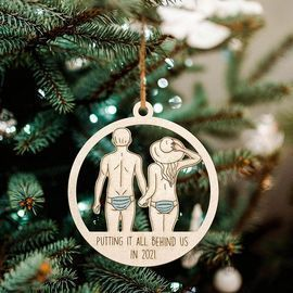 Putting IT All Behind Us Wood Ornaments