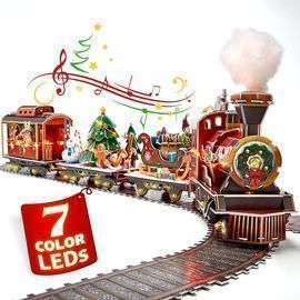 3D Puzzle Christmas Train Sets with LED Lights