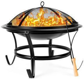 22 Outdoor Fire Pit w/ Screen Cover & Poker