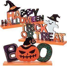 Set of 3 Happy Halloween Wooden Centerpiece Signs