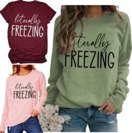 Freezing Crewneck Casual Long Sleeve Sweatshirt
