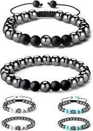 2 Pcs Set Magnetic Hematite Bracelet