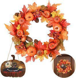 Fall Wreath with Pumpkins and Sign Decor
