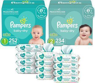 Pampers 2 Month Supply Baby Dry Disposable Baby Diapers Starter Kit