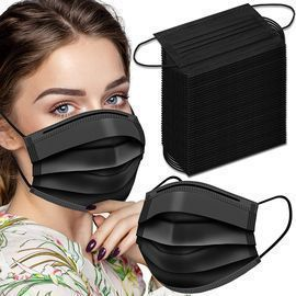 100 Pack Black Disposable Face Coverings