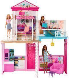 Barbie Dollhouse & Furniture Set With 3 Dolls