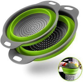 Collapsible Colanders with Extendable Handles