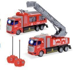 Remote Control RC (Same Frequency) Fire Trucks w/ LED Lights 2-Pack