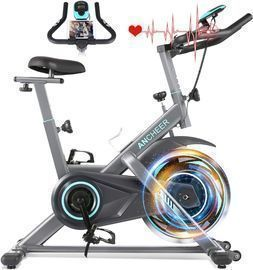 Indoor Cycling Bike with Tablet Holder and LCD Monitor