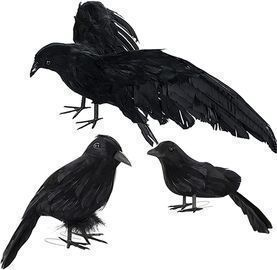 Large Halloween Black Feathered Crows-3 Pack