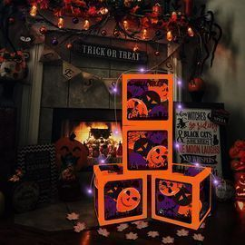 4 Pack Halloween Lighted Boxes