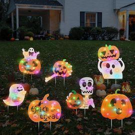 7 Pack Halloween Yard Signs Glowing