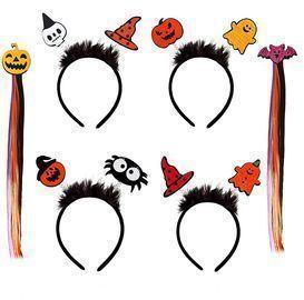 6pc Halloween Element Headbands Hair Clip Wigs