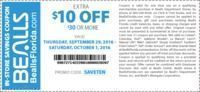 Bealls - $10 Off $30+ (In-Store and Online)