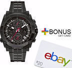 Bulova Men's Precisionist Black Watch 98B257 + $20 eBay GC