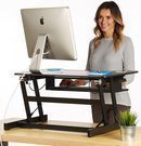 Adjustable Height Standing Desk Sit Stand Dual Monitor Riser