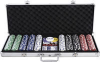 Goplus 500 Chip & 5 Dice Set w/ Cards & Aluminum Case