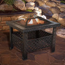 Pure Garden 26 Square Woven Metal Fire Pit with Cover