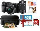 Sony A6000 Mirrorless Camera W/ Two Lenses + Printer & More
