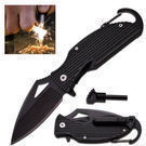 Survival Pocket Knife w/ Fire Starter & Carabiner Clip