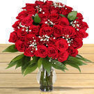 3 Dozen Red Roses + Vase w/ Delivery on Valentine's Day