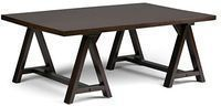 Simpli Home Sawhorse Solid Wood Coffee Table (Dark Chestnut)