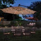 Costway 10-Foot Hanging Solar-Powered LED Umbrella