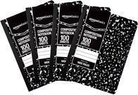AmazonBasics Wide Ruled Composition Notebook 100ct Blk, 4pk