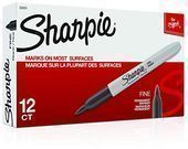 Sharpie Permanent Markers Fine Point, Black 12 Count