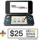 Nintendo 2DS XL (Black/Turquoise, Refurbished) + $25 Credit